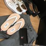 รองเท้าแตะTHOM BROWNE Tricolour Leather SandalSS16 สีขาว (Engraved Grade 1:1)