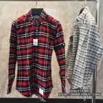 เสื้อเชิ้ตTHOM BROWNE Red&Black Checked Oxford Shirt (Engraved Grade 1:1)