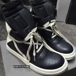 รองเท้าRick Owens Black and White Hi-Top Sneaker (คุณภาพสูงสุด1:1)