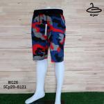 กางเกงสามส่วนลายพรางสีแดงน้ำเงิน เอวยืดมีเชือกผูก มี 2 size No.G26