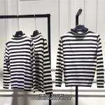 Size S Roll-neck Striped Wool Sweater