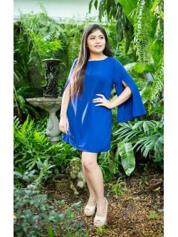 Luxurious Dress เดรสเรียบหรู แขนผ่าด้านหน้าสุดฮิต ผ้าโฟร์เวย์สีน้ำเงิน กระโปรงทรงเอ แขน 5 ส่วนผ่าด้านหน้า ซิปด้านหลัง พร้อมซับในยืดอย่างดี