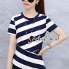 เสื้อผ้าเกาหลีพร้อมส่ง Stripe Obliquely Lace V Back Blouse