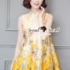 ชุดเดรสเกาหลี พร้อมส่งYellow Flora Girly Silkly Dress