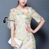 ชุดเดรสเกาหลี พร้อมส่งMini dress แขนสามส่วน ด้านนอกเป็นผ้าซีทรูปักลายดอกไม้