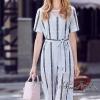 เสื้อผ้าเกาหลีพร้อมส่ง Lace striped new collection playsuit