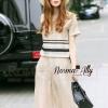 เสื้อผ้าเกาหลี พร้อมส่งnew collection boutique pendulum striped linen shirt wide leg pants set