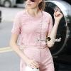 เสื้อผ้าเกาหลี พร้อมส่งPastel Pink Circlely Lace Stylish Set