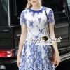 ชุดเดรสเกาหลี พร้อมส่งSaphire Blue Lace Tial Skirt Dress