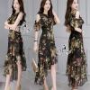 ชุดเดรสเกาหลี พร้อมส่งชุด Dress ยาวสีพื้นดำพิมพ์ลายดอกหลากสี