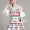 ชุดเดรสเกาหลี พร้อมส่งBohe Lady Color Stickly OpenShoulder Dress
