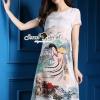 ชุดเดรสเกาหลี พร้อมส่งTelegraph Planty Paint Brush Style Long Dress