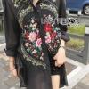 เสื้อผ้าเกาหลี พร้อมส่งเชิ้ตเดรสปักลายดอกไม้สไตล์วินเทจ