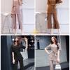 ุเสื้อผ้าแฟชั่นเกาหลี พร้อมส่งชุดเซท เสื้อ+กางเกง เป็นผ้ายืดญี่ปุ่นเนื้อเงานิดๆ