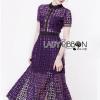 ชุดเดรสเกาหลี พร้อมส่งSelf-Portrait Scallop Edged Midi Dress in Burgundy
