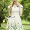 ชุดเดรสเกาหลี พร้อมส่งChiffon Tail Skirt Blossom Stick Dress