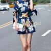 เสื้อผ้ากเกาหลี พร้อมส่งSummer Shinely Blue Blossom Bow Tie Sleeve