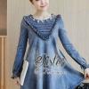 ชุดเดรสเกาหลี พร้อมส่ง Elegant Vintage Jeans Dress