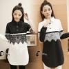 เสื้อผ้าเกาหลี พร้อมส่งชุดLongshirt สีพื้นขาวดำ คอปก
