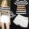 ( พร้อมส่ง) ชุดเซ็ทเสื้อกับกางเกงแบรนด์เนม เสื้อทรง t-shirt ผ้ายืดคอทต้อนลายขวางสีขาว-ดำ พิมพ์ลายตัวหนังสือ กางเกงผ้าหนาทรงเอวสูงระดับกลาง เป็นทรงสวยมากค่ะ สามารถmix&match ได้หลายสไตล์