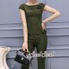 เสื้อผ้าเกาหลีพร้อมส่ง Olivia Green Rosaa Chic Set