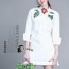 ชุดเดรสเกาหลี พร้อมส่งมินิเดรสสีขาว ช่วงคอปักใบไม้สีเขียว