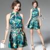 เสื้อผ้าเกาหลี พร้อมส่งEmerald Printed Flora Blouse With Shorts Sets