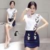 เสื้อผ้าเกาหลี พร้อมส่งEmbroidered Flowers Shirt + Skirt Luxury Set