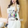 ชุดเดรสเกาหลี พร้อมส่งGirly Suquinne Cartoon Dress