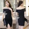 ชุดเดรสเกาหลี พร้อมส่งShoulder Sexy Black Mini Dress