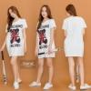 เสื้อผ้าแฟชั่นเกาหลี พร้อมส่งเดรสทรงใหญ่ MOSCHINO หมีติดเพชรสุดชิค