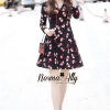 ชุดเดรสเกาหลี พร้อมส่ง Flower Ballet Print Authumn collection dress