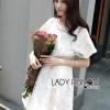 ชุดเดรสเกาหลี พร้อมส่งเดรสผ้าคอตตอนแขนสั้นปักและฉลุลายดอกไม้