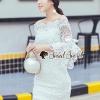 ชุดเดรสเกาหลี พร้อมส่งPrincess Curly Open Shoulder Lace Dress