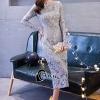 ชุดเดรสเกาหลี พร้อมส่งชุดLong dress ลูกไม้สีเทาเรียบหรู