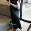 ชุดเดรสเกาหลี พร้อมส้งLong dress สีดำแขนสั้นผ้ายืดหยุ่น