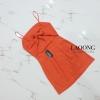 ชุดเดรสแฟชั่นพร้อมส่ง Dress สีส้มผูกหลัง