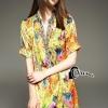 ชุดเดรสเกาหลี พร้อมส่งYellow Diamond Luxury Shirt Dress