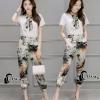 เสื้อผ้าเกาหลี พร้อมส่งWhite Shirt + Color Camo Pant Set