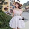 ชุดเดรสเกาหลี พร้อมส่งDolly sexy Lace satin dress fashion