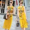 ชุดเดรสเกาหลี พร้อมส่งชุด Maxi Dress สีเหลืองแขนกุด
