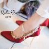 รองเท้าส้นเข็ม เคลือบสีทอง สูง 4 นิ้ว สวยวิ๊งๆ ดีไซน์สายไขว่คาดหน้าเท้าให้ดูเรียว ยาว วัสดุผ้าซาตินเงา ใส่ออกงาน หรู โดดเด่น