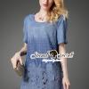 ชุดเดรสเกาหลี พร้อมส่งBlossom Lace Tail Chic Blue Denim Dress