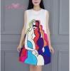 ชุดเดรสเกาหลี พร้อมส่งMinidress รูปหน้าผู้หญิงแขนกุด