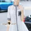 ชุดเดรสเกาหลี พร้อมส่งChic Stripy Rorrah Lace Shirt Dress