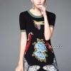 ชุดเดรสเกาหลี พร้อมส่งDress แขนสั้นปักลาย ตามแบบฉบับ Brand Gucci