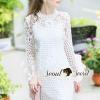 ชุดเดรสเกาหลี พร้อมส่งLayer Sleeve Princess Lace Dress