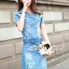 ชุดเดรสเกาหลี พร้อมส่งTeally Flora Furnish Denim Dress
