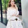 ชุดเดรสเกาหลี พร้อมส่งPrincessly Layer Lace Little Flora Print Dress