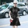 ชุดเดรสเกาหลี พร้อมส่งlotus leaf Black lace swing sleeve chic dress